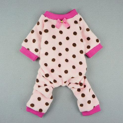 Spotty Dot Pink Fleece Pajamas   Sizes XS & M