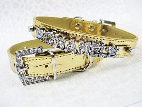 Gold Luxe Croc Personalized collar- add pet's name free