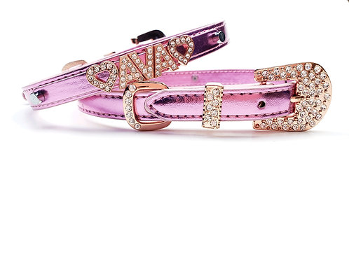Pink and Rose Gold Personalized collar- add pet's name free