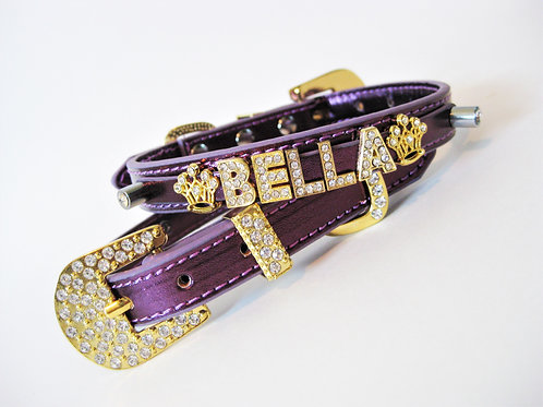 Plum and Gold Personalized collar | Size XXS, XS, L, XL