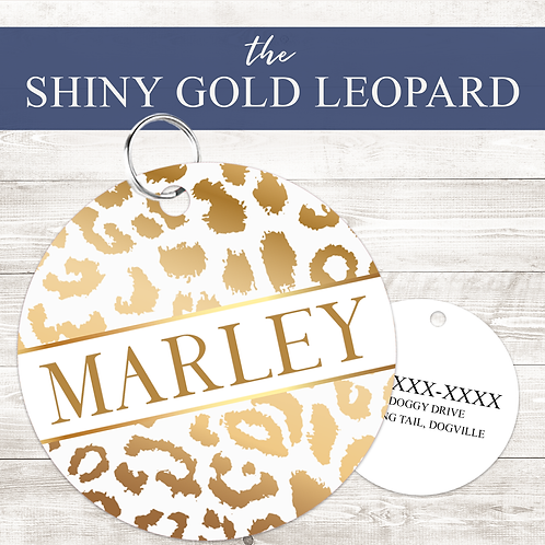 The Shiny Gold Leopard Pet Tag   Custom Dog Tag Personalized