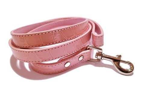 Pink croc and chrome leash