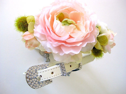Blush flower collar with silver or rose goldtone buckle