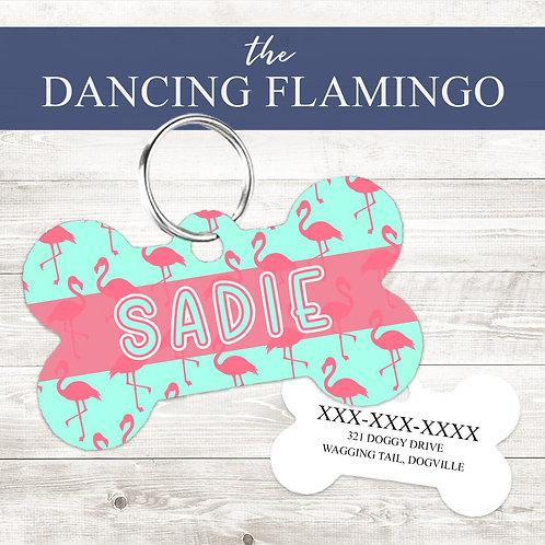 Dancing Flamingo Pet Tag | Custom Dog Tag Personalized