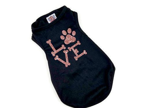 Love Dog Shirt | Black with pink glitter