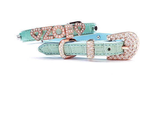 Mint and Rose Gold Personalized collar- add pet's name free