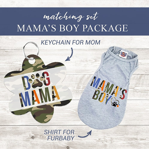Dog Mama and Mama's Boy keychain and tee set