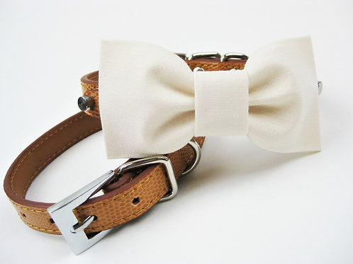 Rustic Ivory Bow tie collar | Dog bowtie collar