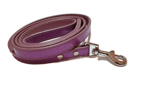 Purple sparkle and chrome leash