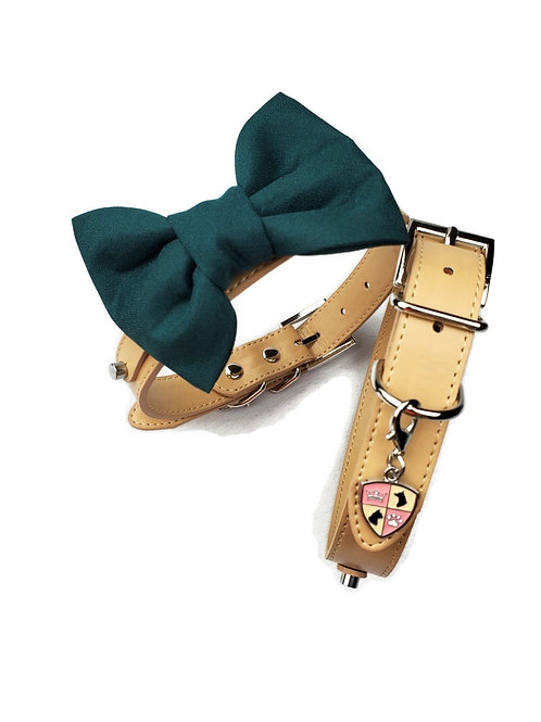 Forest Green Bow tie collar | Dog bowtie collar
