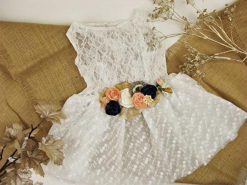 White Bluebird Dog Dress