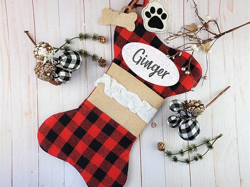 Buffalo Plaid Personalized Dog Stocking