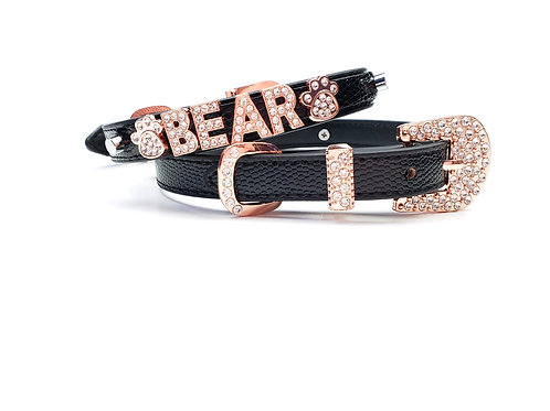 Black and Rose Gold Personalized collar- add pet's name free