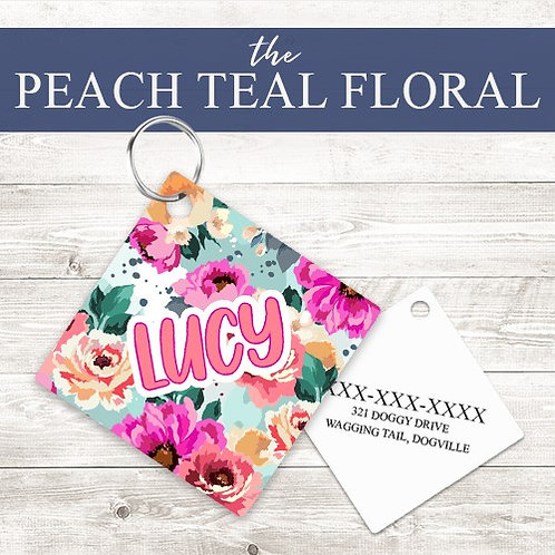 Peach Teal Floral Pet Tag | Custom Dog Tag Personalized | Tribal Pink W