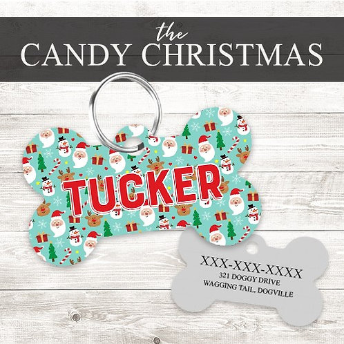 Candy Christmas Personalized Dog Tag