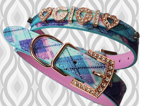 Pastel Tartan Plaid Personalized collar