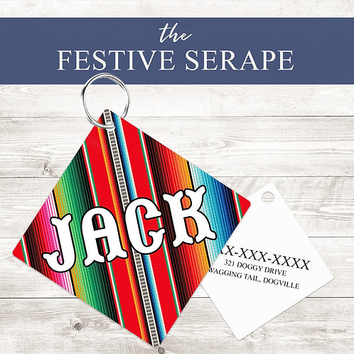 Festive Serape Pet Tag | Custom Dog Tag Personalized