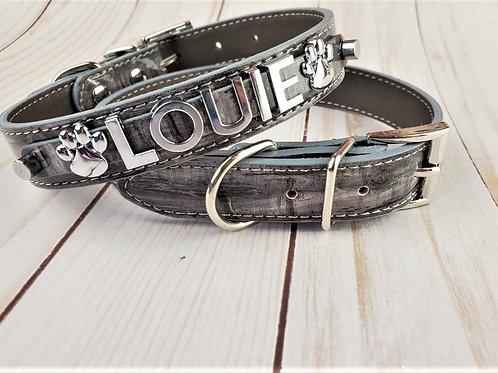Gray Driftwood Dog Collar | Chrome Personalized Dog collar