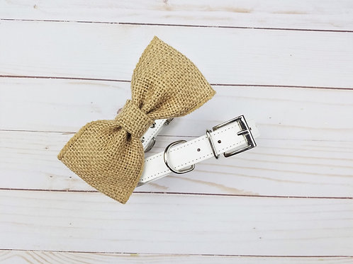 Burlap bow tie collar | Dog bowtie collar
