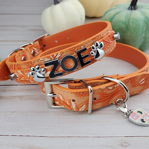 Pumpkin Spice Boheme Dog Collar |  Personalized Dog collar
