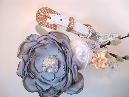 Clarice gray flower collar with rose goldtone or silvertone buckle