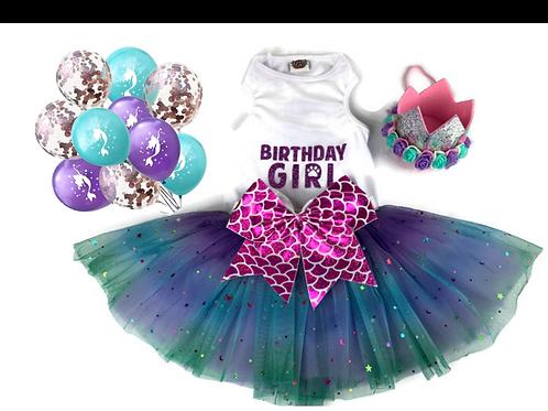 Purple Mermaid Birthday Dog Package