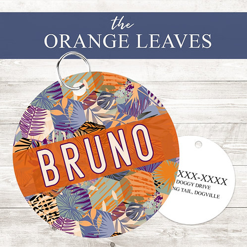 Boho Orange Leaves Pet Tag | Custom Dog Tag Personalized