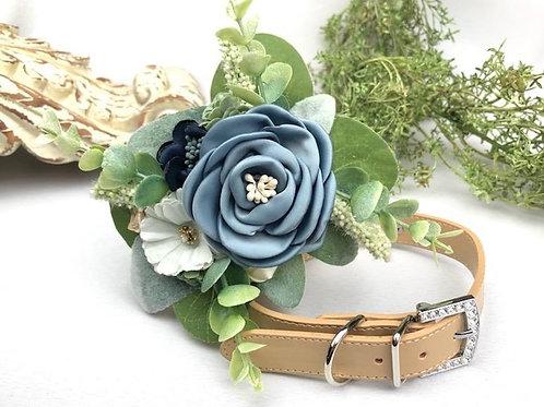 Dusty Blue Succulent Floral Collar