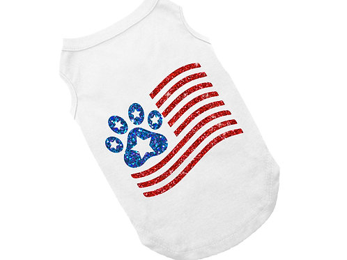 Sparkle Flag Dog Shirt | 4th of July shirt for dogs
