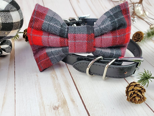Red and Gray Buffalo Plaid Bow tie collar | Holiday pet bowtie