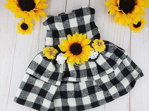 Buffalo Plaid Sunflower Dog Dress