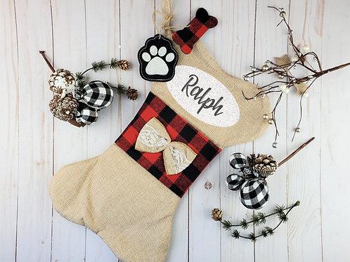 Burlap and Plaid Personalized Dog Stocking