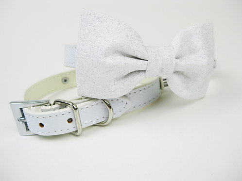 Sparkles Bow tie collar | Silver and white bowtie collar
