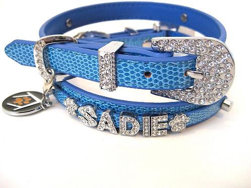 Blue Denim croc Personalized collar | Size XL