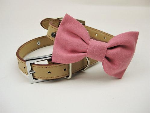 Rustic Warm Pink Bow tie collar | Dog bowtie collar