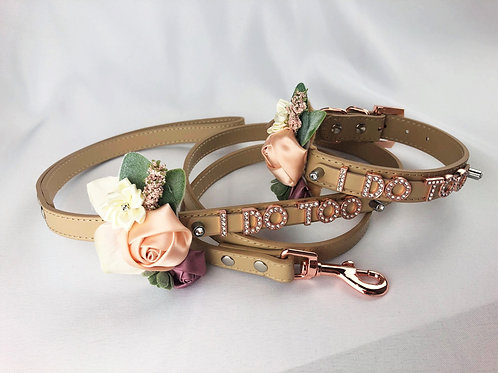 I DO TOO leash & collar with rose goldtone lettering- 19 color optio