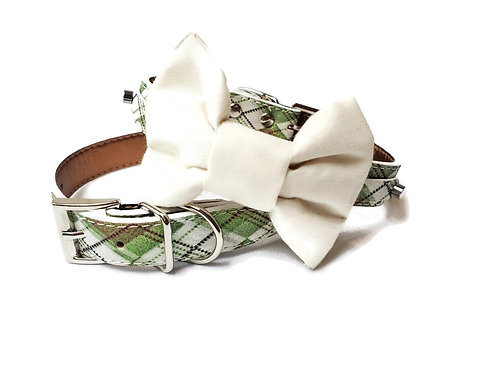 sage Tartan Plaid Bow tie collar   Dog bowtie collar