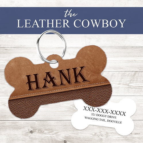 The Leather Cowboy Pet Tag | Custom Dog Tag Personalized
