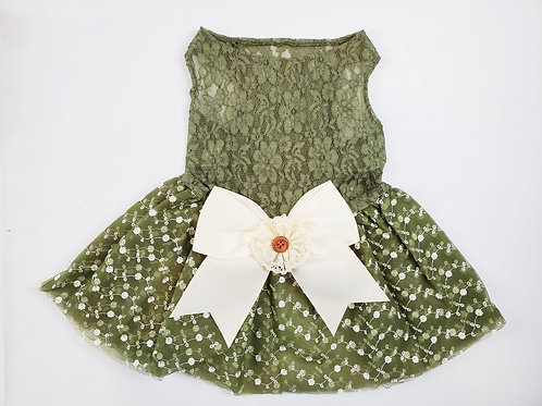 Big Bow Sage and Ivory Easter Doggie Dress
