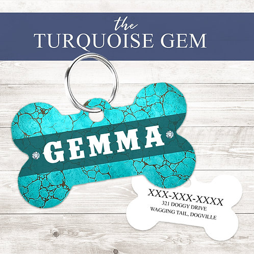 The Turquoise Gem Pet Tag   Custom Dog Tag Personalized