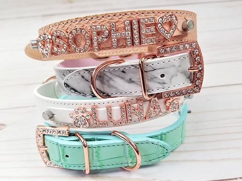 Rose Gold Spring Collection Collars | Blush Snake, Marble, Mint, and White