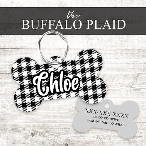 Buffalo Plaid Personalized Dog Tag