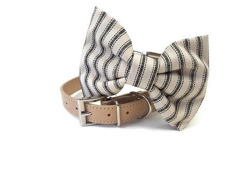 Seersucker Navy stripe bow tie collar | Dog bowtie collar