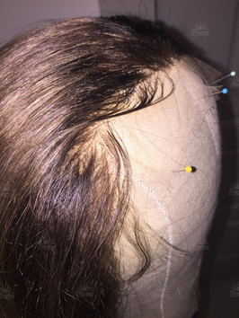 Natural Light Brunette with highlights Lace Front Hair Replacement