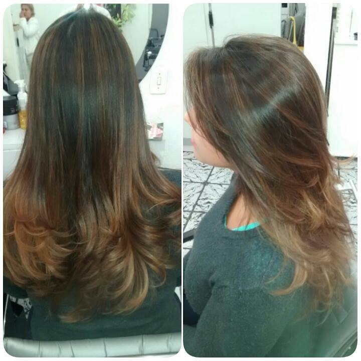 Ombré Hair com mechas 3D.