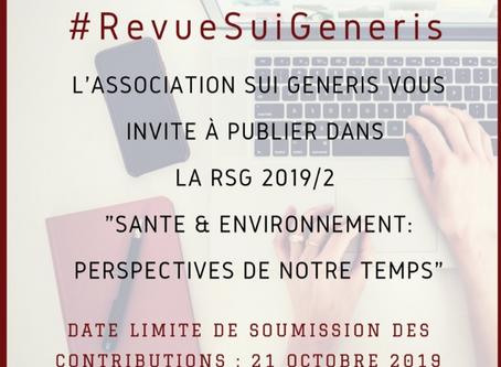 Appel à contributions RSG 2019/2 : ''Santé & Environnement : perspectives de notre temps