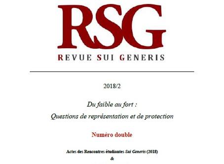 """RSG 2018/2 """"Du faible au fort : Questions de représentation et de protection"""" publiée"""