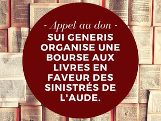 #Mobilisation - Sui Generis organise une bourse aux livres pour les sinistrés de l'Aude