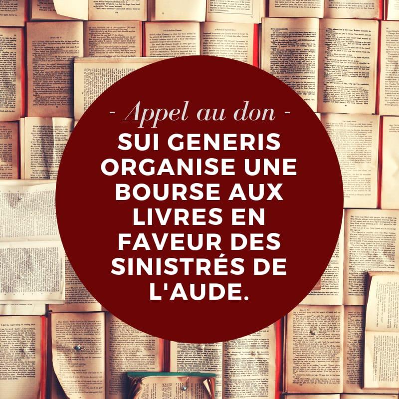 Appel au don - Bourse aux livres pour les sinistrés de l'Aude