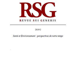 RSG 2019/2 : « Santé et Environnement : perspectives de notre temps » est disponible !